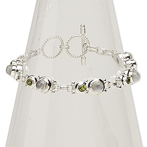 bracelet, peridot / rainbow moonstone (natural) / sterling silver, 9mm wide, 7 inches with toggle clasp. sold individually.