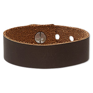 bracelet, realeather, leather (dyed) and steel, saddle brown, 3/4 inch wide, adjustable from 5-1/2 to 7 inches with button stud closure. sold individually.