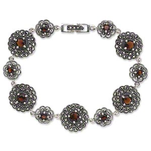 bracelet, signity marcasite (natural) / garnet (imitation) / antiqued sterling silver, 10mm and 15mm domed flower, 7-1/2 inches with fold-over clasp. sold individually.