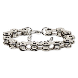 bracelet, silver- and antique silver-plated steel, 6mm wide with 22x6mm bicycle chain, 6 inches with 2-inch extender chain and lobster claw clasp. sold individually.