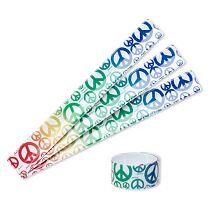 bracelet, slap-on, plastic and steel, multicolored, 1-inch wide with peace sign design, adjustable from 6-8 inches. sold per pkg of 4.