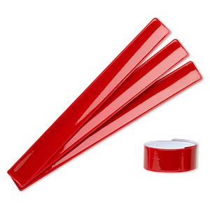 bracelet, slap-on, plastic and steel, red, 1-inch wide, adjustable from 6 to 8-1/2 inches. sold per pkg of 4.