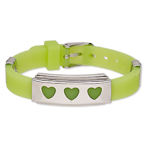 bracelet, softique™, silicone and stainless steel, light green, 16mm wide with 39x16mm rectangle and cutout hearts, adjustable from 5-1/2 to 7-1/2 inches with buckle-style closure. sold individually.