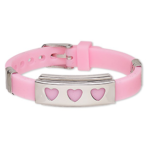 bracelet, softique™, silicone and stainless steel, pink, 16mm wide with 39x16mm rectangle and heart cutouts, adjustable from 5-1/2 to 7-1/2 inches with buckle-style closure. sold individually.