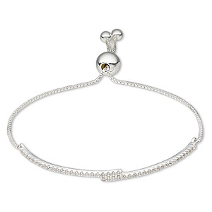 bracelet, sterling silver / cubic zirconia / silicone, clear, 3.5mm wide with (2) 4mm balls, adjustable from 5-1/2 to 9 inches with 8mm adjustable slider bead. sold individually.