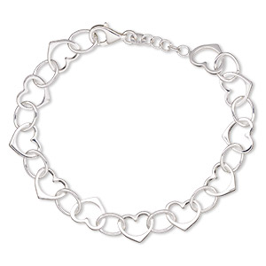 bracelet, sterling silver, 10mm open heart, 7 inches with lobster claw clasp. sold individually.