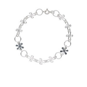 bracelet, sterling silver, 8mm round / 10x9mm snowflake / 11x7mm fancy, 7 inches with springring clasp. sold individually.