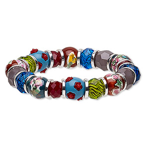 bracelet, stretch, acrylic / glass / porcelain / silver-plated pewter (zinc-based alloy), multicolored, 13mm wide, 6 inches. sold individually.
