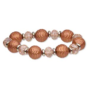 bracelet, stretch, acrylic / glass / silver-coated plastic, dark peach, 12x8.5mm faceted rondelle and 15mm textured round, 6-1/2 inches. sold individually.