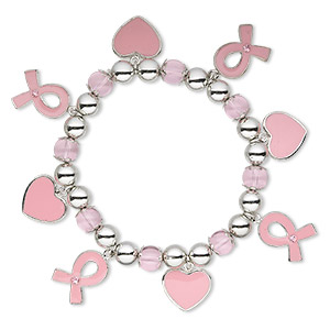 bracelet, stretch, acrylic / glass rhinestone / enamel / pewter (zinc-based alloy), pink and clear, 7-9mm round / 16x14.5mm heart / 18x14mm awareness ribbon, 6-1/2 inches. sold individually.