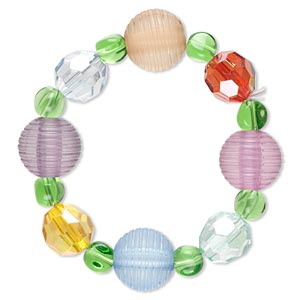 bracelet, stretch, acrylic and glass, multicolored, 8-20mm multi-shape, 6-1/2 inches. sold individually.