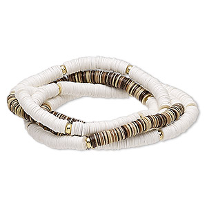 bracelet, stretch, acrylic and gold-coated plastic, ivory / brown / tan, 5mm wide, 6-1/2 inches. sold per pkg of 4.
