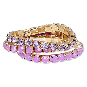 bracelet, stretch, acrylic rhinestone and gold-finished steel, lavender and frosted lavender, 8mm wide cupchain, 7 inches. sold per 3-piece set.