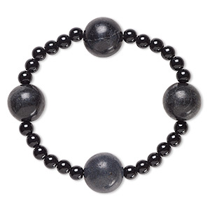 bracelet, stretch, blackstone (dyed) and acrylic, black, 5mm and 15-16mm round, 6 inches. sold individually.