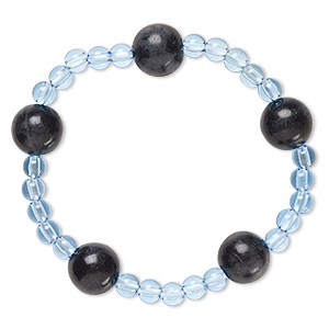 bracelet, stretch, blackstone (dyed) and acrylic, blue, 5mm and 12-13mm round, 6-1/2 inches. sold individually.