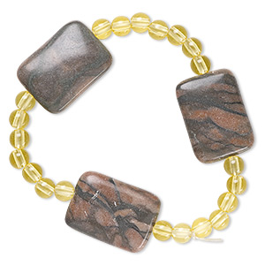 bracelet, stretch, canyon marble (natural) and acrylic, yellow, 5mm round and 30x20mm puffed rectangle, 6-1/2 inches. sold individually.