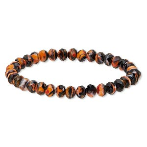 bracelet, stretch, celestial crystal, black and orange, 8x6mm faceted rondelle, 7-1/2 inches. sold individually.