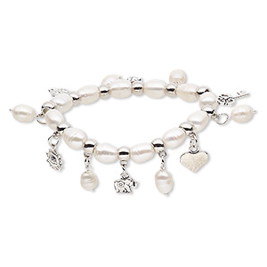 bracelet, stretch, cultured freshwater pearl (bleached) / antique silver-coated plastic / antique silver-plated steel / pewter (zinc-based alloy), white, 10mm wide, 7 inches. sold individually.