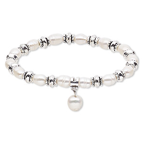 bracelet, stretch, cultured freshwater pearl (bleached) with antique silver-plated steel and pewter (zinc-based alloy), white, 6mm wide with 10mm rice, 7 inches. sold individually.