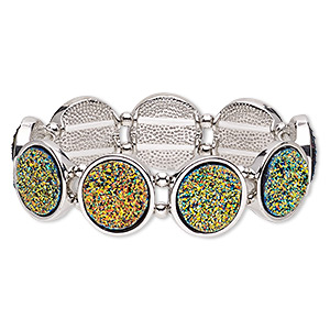 bracelet, stretch, druzy (imitation) / silver-coated plastic / silver-plated pewter (zinc-based alloy), multicolored, 19mm wide with 19mm flat round, 6-1/2 inches. sold individually.