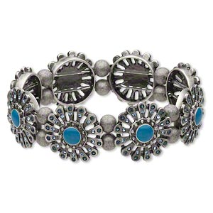 bracelet, stretch, enamel / crystal rhinestone / antiqued silver-plated brass, turquoise blue / light blue / dark blue, 21mm flower, 7 inches. sold individually.