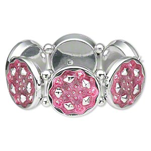 bracelet, stretch, epoxy and silver-coated plastic, pink, 30mm textured round, 6-1/2 inches. sold individually.