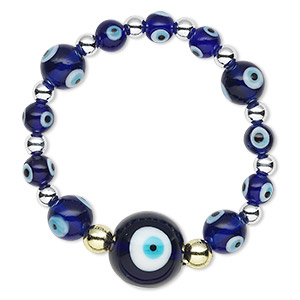 bracelet, stretch, glass / acrylic / gold-finished or imitation rhodium-plated steel, multicolored, 5-18mm round with wards off the evil eye design, 6 inches. sold individually.