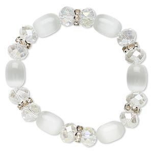 bracelet, stretch, glass / cats eye glass / glass rhinestone / imitation rhodium-plated steel, clear ab / white / clear, 10mm wide, 6 inches. sold individually.