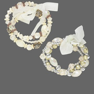 bracelet, stretch, glass / organza ribbon / acrylic / gold- / silver-coated plastic, cream / white / clear ab, multi-shape, 6 inches. sold per pkg of 6.