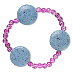 bracelet, stretch, glass and acrylic, opaque purple and blue, 5mm round and 23mm puffed flat round, 7 inches. sold individually.