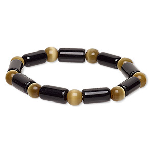 bracelet, stretch, glass and cats eye glass, opaque dark khaki and black, 7-8mm round and 14x7mm-15x8mm round tube, 7 inches. sold individually.