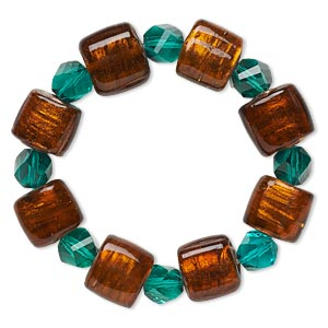 bracelet, stretch, glass and lampworked glass, brown and teal with copper-colored foil, 9mm faceted twisted round and 14x12mm flat rectangle, 6 inches. sold individually.