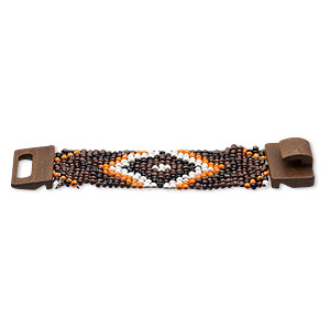 bracelet, stretch, glass and stained wood, orange and multicolored, 46mm wide with chevron design, 7 inches with hook-and-eye clasp. sold individually.