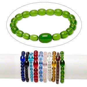 bracelet, stretch, glass, assorted colors, 7-12mm multi-shape, 7-8 inches. sold per pkg of 10.