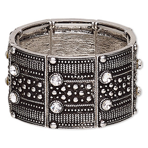 bracelet, stretch, glass rhinestone and antique silver-plated pewter (zinc-based alloy), clear, 38mm wide with rectangle, 7 inches. sold individually.