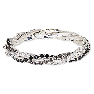 bracelet, stretch, glass rhinestone and silver-plated brass, clear / black / smoky grey, 9mm wide braided cupchain, 7 inches. sold individually.