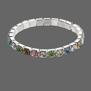 bracelet, stretch, glass rhinestone and silver-plated brass, multicolored, 6mm round, 6 inches. sold individually.