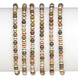 bracelet, stretch, gold- / silver- / bronze- / gunmetal-coated plastic, 4mm round, 7 inches. sold per pkg of 6.