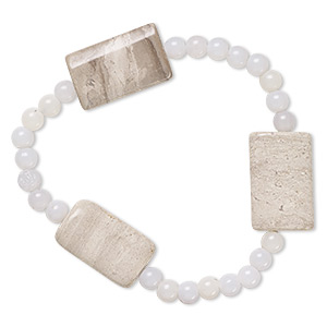 bracelet, stretch, grey and cream marble (natural) and acrylic, grey, 5mm round and 24x14mm-25x16mm flat rectangle, 7 inches. sold individually.