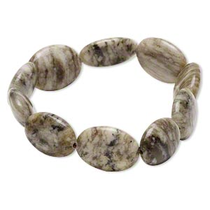 bracelet, stretch, grey feldspar (natural), 19x14mm-20x15mm puffed oval, 7 inches. sold individually.