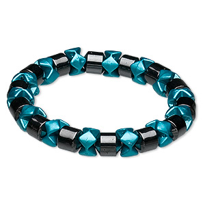 bracelet, stretch, hemalyke™ (man-made) and coated acrylic, turquoise blue, 8mm round tube and 9x6mm rondelle, 7 inches. sold individually.