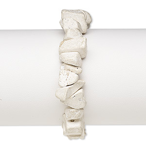 bracelet, stretch, magnesite (stabilized), matte white, large chip, 6 inches. sold individually.