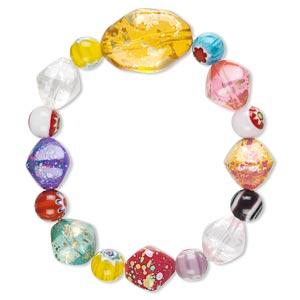 bracelet, stretch, millefiori glass and acrylic, multicolored, 20mm wide with round and nugget, 7 inches. sold individually.
