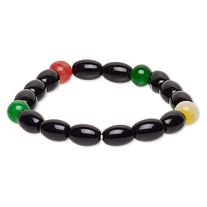 bracelet, stretch, multi-gemstone (natural / dyed / heated) and glass, multicolored and opaque black, 6-8mm round and 10x7mm-11x8mm barrel, 6 inches. sold individually.