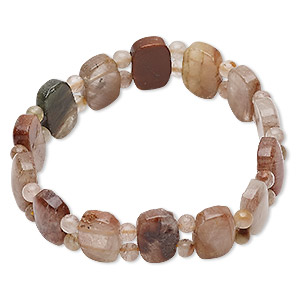 bracelet, stretch, multi-gemstone (natural), multicolored, 13.5mm wide with round and rounded flat rectangle, 6-1/2 inches. sold individually.