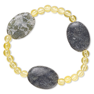 bracelet, stretch, multi-serpentine (natural) and acrylic, yellow, 5mm round and 24x18mm-25x18mm flat oval, 6-1/2 inches. sold individually.