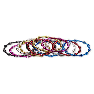 bracelet, stretch, painted steel, assorted colors, 5mm oval coil, 6-1/2 inches. sold per pkg of 12.