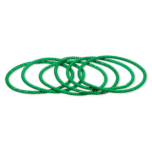 bracelet, stretch, painted steel, green, 3mm twisted coil, 6-1/2 inches. sold per pkg of 6.