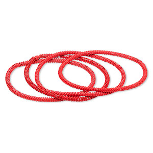 bracelet, stretch, painted steel, neon orange, 3mm twisted coil, 7-1/2 inches. sold per pkg of 4.
