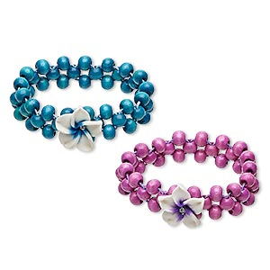 bracelet, stretch, painted wood / polymer clay / glass rhinestone, blue / lavender / white, 20mm wide with 20mm flower, 6 inches. sold per pkg of 2.
